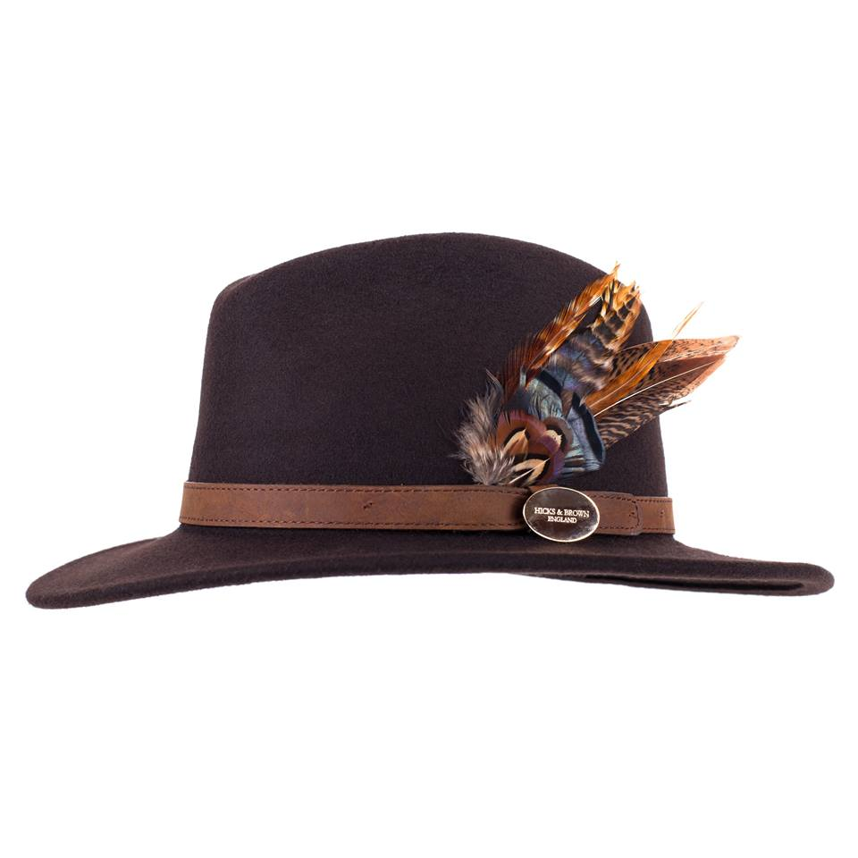 Hicks and Brown Fedora Hat - Brown