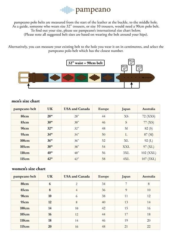 Pampeano Belts Size