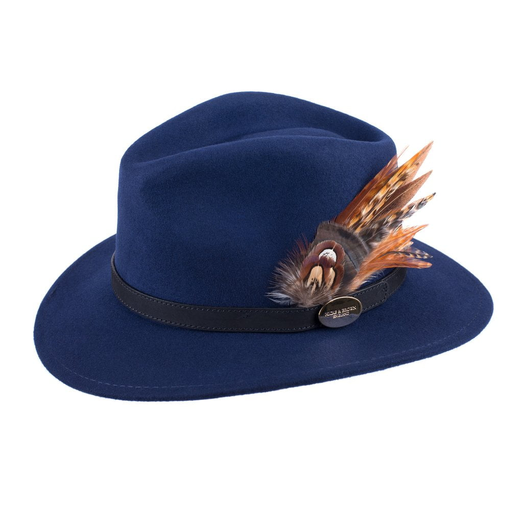 Hicks and Brown Fedora Hat - Navy
