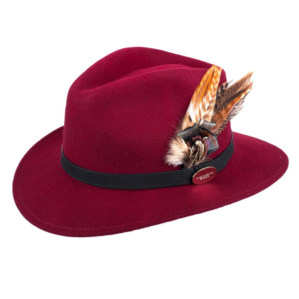Hicks and Brown Fedora Hat - Maroon