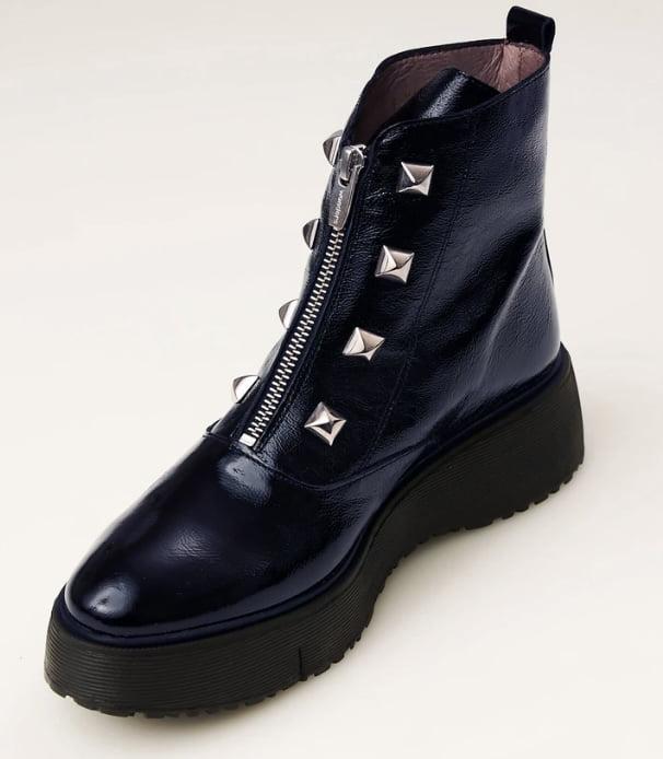 Wonders Navy Patent Boot_1788